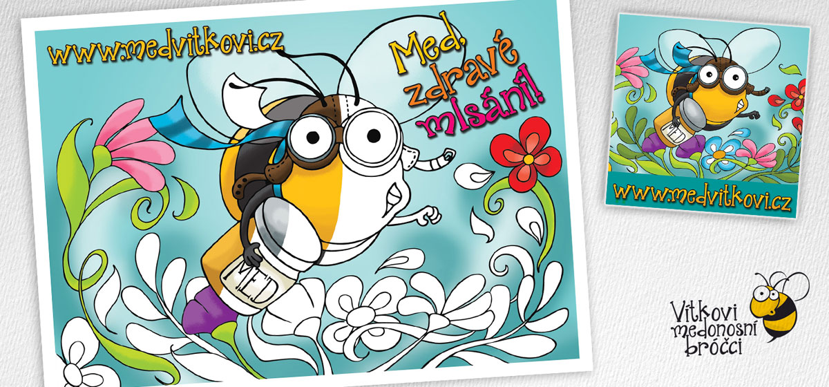 kresba ilustrace pro reklamní účely, dětská omalovánka s motivem včely super včelky letící , vytváří turbulenci, květy se rozlítávají do stran, na ilustraci umístěn nápis Med zdravé mlsání, zhotoveno pro včelaře Medvítkovi medonosné broučky
