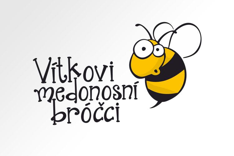 """návrh loga pro včelaře """"Vítkovi medonosní bróčci"""", logo tvoří nápis a komická včelka, autorem je Petra Stloukalová, grafické studio Lišákova grafika"""