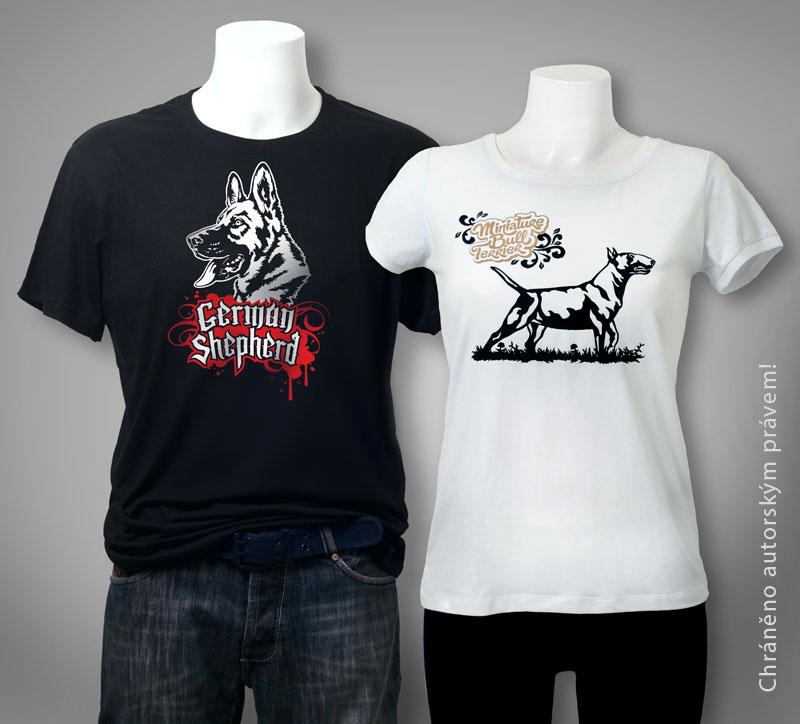 ukázka potisku triček technologií termotransfer flex s motivem psů, na fotografii je německý ovčák a bulteriér, kresba, vektorová kresba a grafická úprava Petra Stloukalová