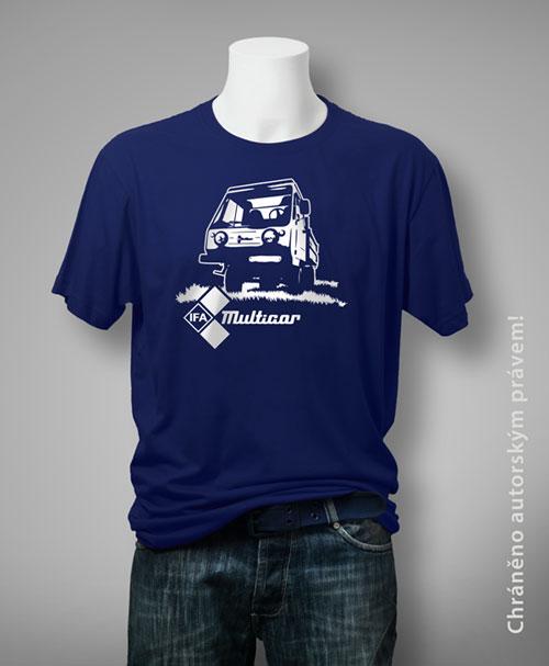 tričko s vlastním potiskem, motiv trička z dílny Lišákovy grafiky na obrázku je stylizovaná Multicar tzv. multikára, vyrobeno pro nadšence aut