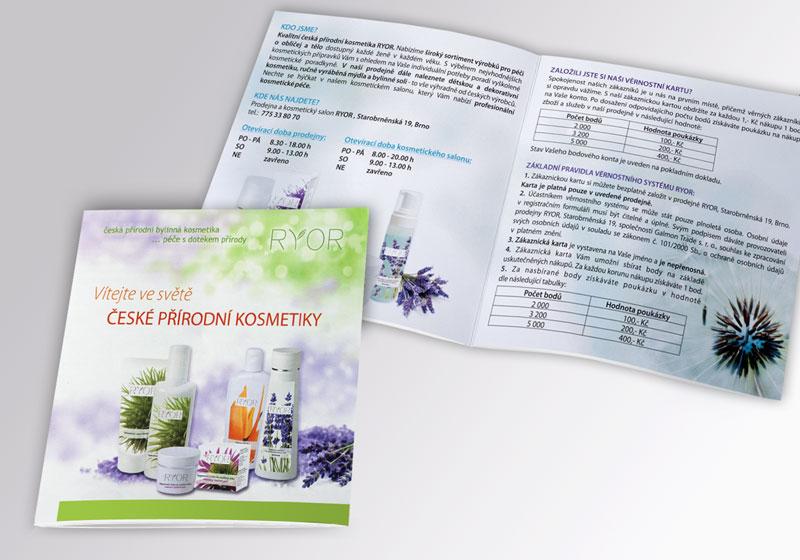 grafický návrh a výroba, tisk katalogů pro kosmetické studio, Brno-venkov