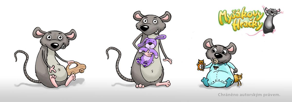 kresba, ilustace myšek pro internetový obchod s hračkami www.mysakovyhracky.cz, šedé myšky s plyšákem, myška s dřevěným autíčkem, myška miminko v dupačkách s hračkou