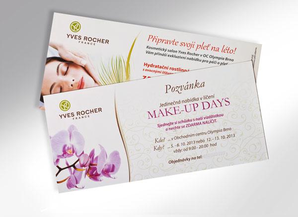 tisk pozvánek a jejich grafická příprava pro kosmetické studio, formát DL, křídový papír - lesk, digitální laserový tisk