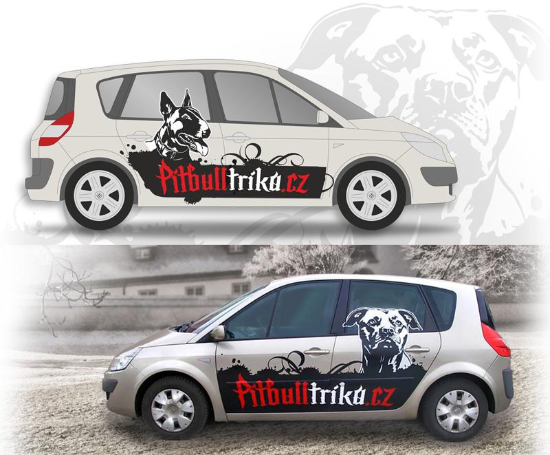 reklamní polep auta od grafického studia Lišákova grafika, polep auta s motivem psů, e-shop s potiskem triček se psy