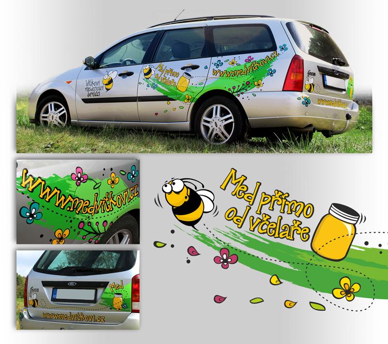 reklamní polep auta, grafický návrh, výroba a aplikace reklamního polepu na auto