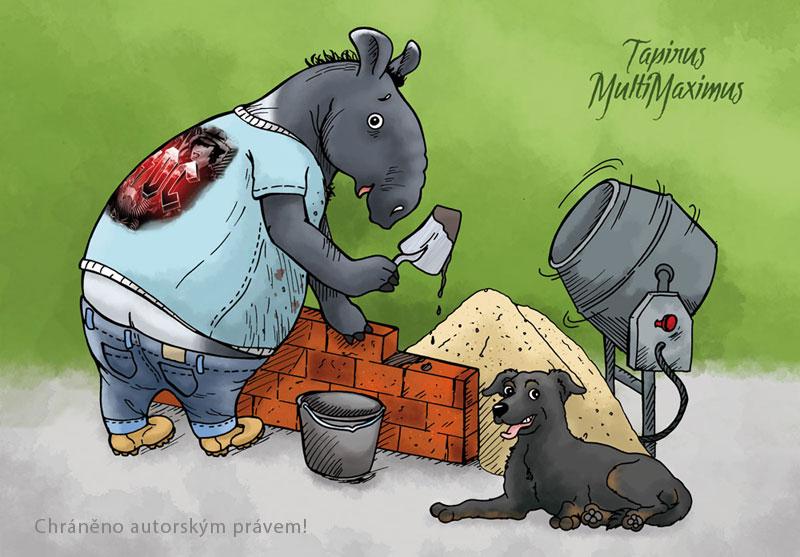 kresba ilustrace tapíra zedníka, na obrázku staví zeď, za ní je hromada písku pro míchání malty v míchačce, společnost dělá věrný pes Čert, malta padá se lžíce