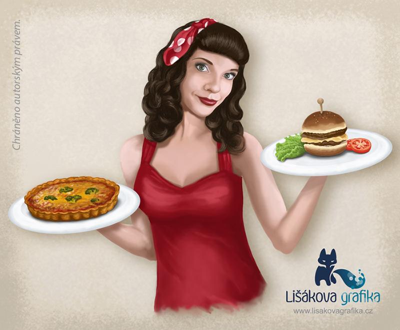 digitální kresba pin up pro reklamu občerstvení