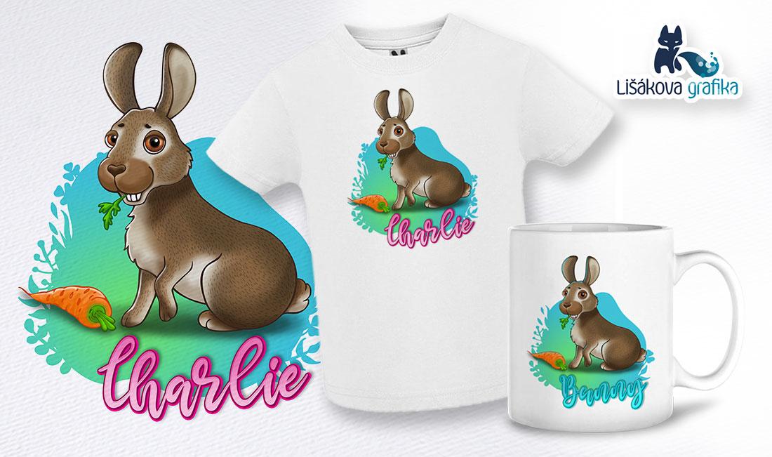 digitální kresba králíka pro potisk triček