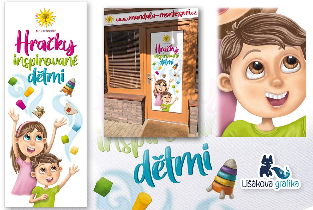 Reklamní polep výlohy. Digitálně kreslený motiv dětí a hraček.